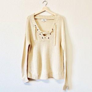 BB Dakota Jack Lace-up Cream Oversized Sweater